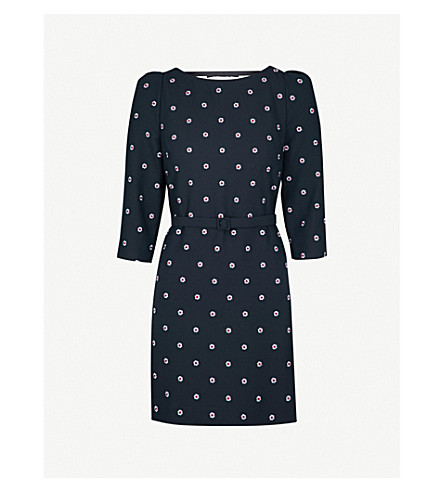 CLAUDIE PIERLOT Ricin embroidered crepe mini dress (Blue