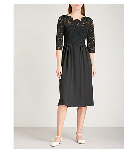 CLAUDIE PIERLOT Rocky lace and chiffon dress (Noir
