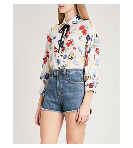 CLAUDIE PIERLOT Floral-print silk blouse (Cream