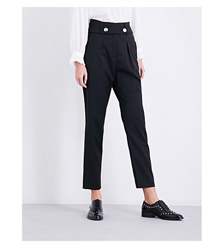 CLAUDIE PIERLOT High-rise tapered twill trousers (Noir