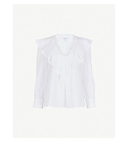CLAUDIE PIERLOT Ruffled cotton-poplin blouse (Cream