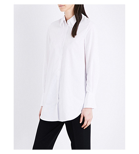 CLAUDIE PIERLOT Charlene cotton-poplin shirt (Blanc