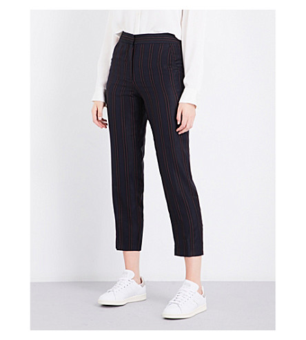CLAUDIE PIERLOT Striped wide-leg woven-twill trousers (Marine