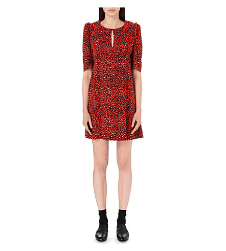 CLAUDIE PIERLOT Ravie leopard-print woven dress (Coquelicot