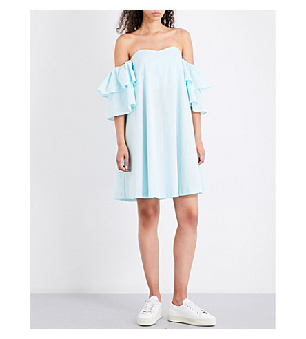 CLAUDIE PIERLOT Rackam off-the-shoulder cotton dress (Aqua