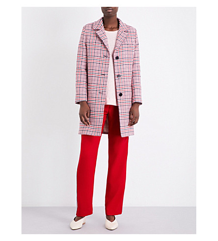 CLAUDIE PIERLOT Giant checked cotton-blend coat (Ruby