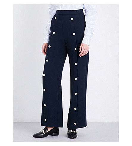 CLAUDIE PIERLOT Perline high-rise crepe trousers (Petrol