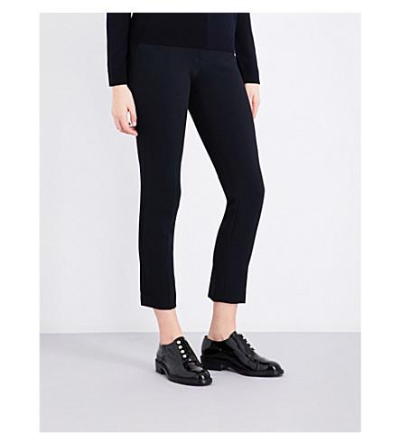 CLAUDIE PIERLOT Straight high-rise crepe trousers (Marine