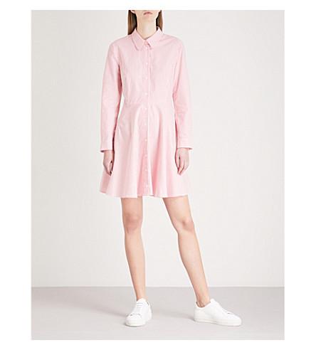 CLAUDIE PIERLOT 蝴蝶结细节条纹棉质连衣裙 (奶油