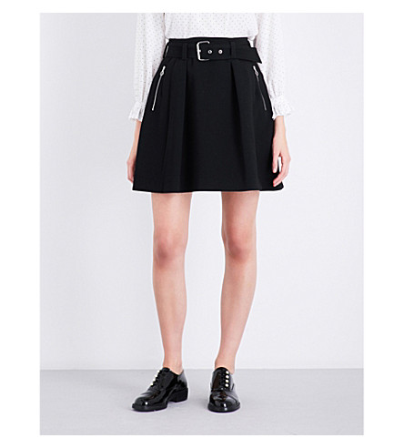 CLAUDIE PIERLOT A-line high-rise woven skirt (Noir