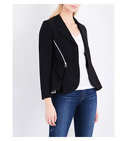 CLAUDIE PIERLOT Zip-detail woven jacket (Noir