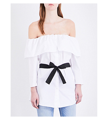 CLAUDIE PIERLOT Bliss off-the-shoulder cotton-poplin top (Blanc