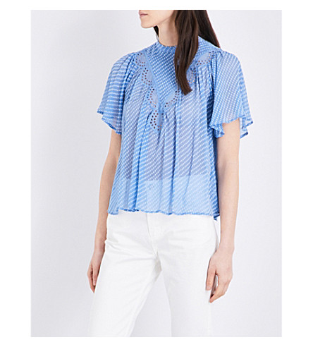 CLAUDIE PIERLOT Bora silk-blend top (Azur