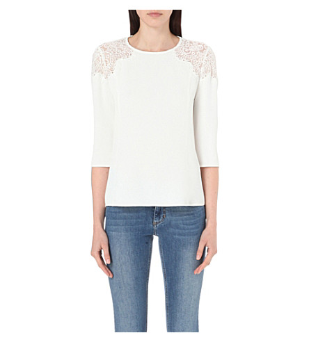 CLAUDIE PIERLOT Biche crepe and lace top (Blanc