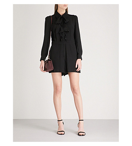 CLAUDIE PIERLOT Pussy-bow polka-dot crepe playsuit (Black
