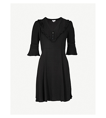 CLAUDIE PIERLOT Frilled crepe dress (Black