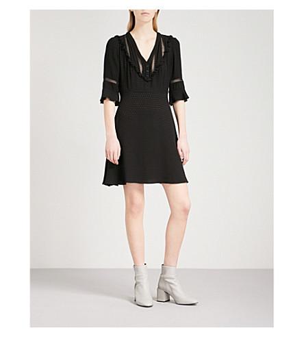 CLAUDIE PIERLOT Frilled crepe dress (Black