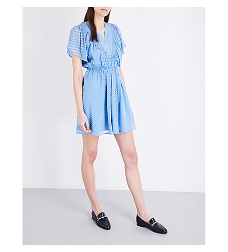 CLAUDIE PIERLOT Riri silk-blend dress (Azur