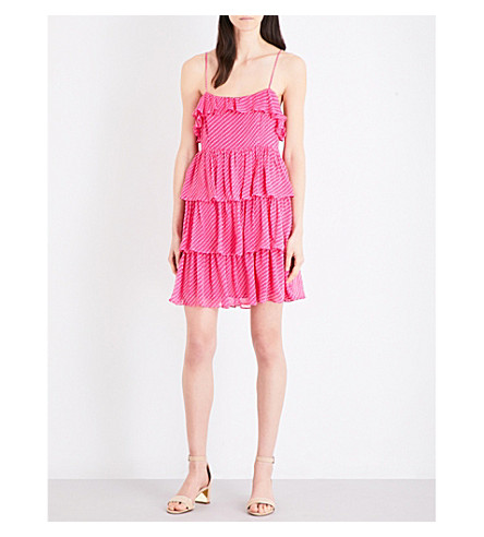 CLAUDIE PIERLOT Rayonnante silk-blend fil-coupé dress (Fuchsia