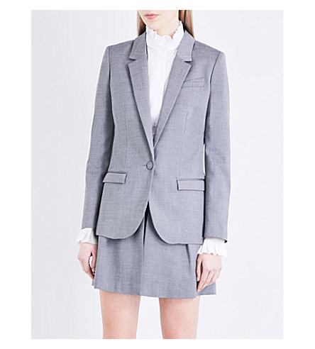 CLAUDIE PIERLOT Vanille single-breasted woven blazer (Anthracite