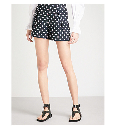CLAUDIE PIERLOT Heart-print woven shorts (Blue