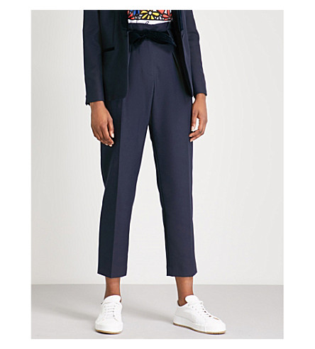 CLAUDIE PIERLOT Velvet-belt tapered woven-twill trousers Midnight blue New Arrival Sale Online Get Authentic Cheap Price Inexpensive Cheap Online Outlet With Mastercard Sale Very Cheap GY4jxwa