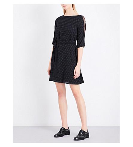 CLAUDIE PIERLOT Review lace-detail woven dress (Noir