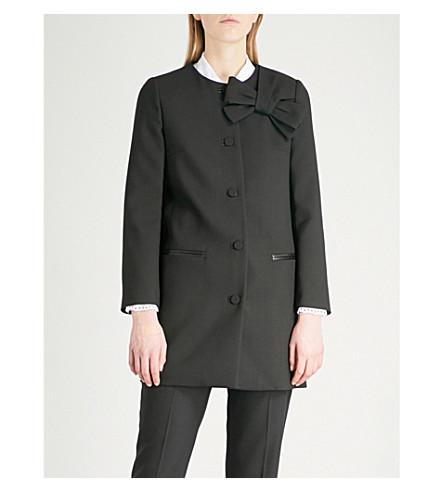 CLAUDIE PIERLOT Griotte bow-detail woven jacket (Black