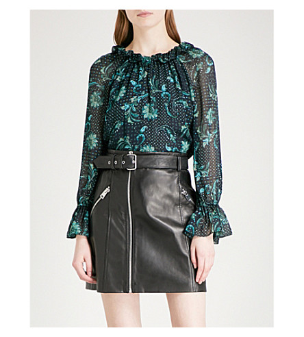 CLAUDIE PIERLOT High neck paisley-print chiffon top (Marine