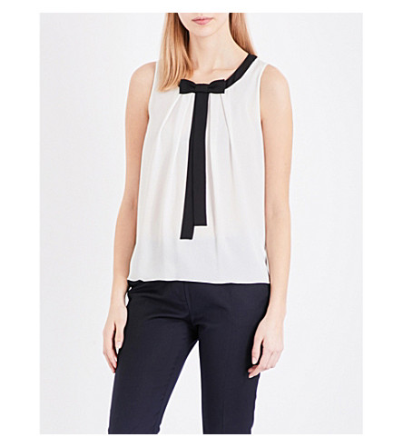 CLAUDIE PIERLOT Bonbon sleeveless chiffon top (Ecru