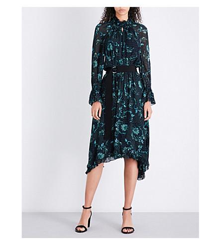 CLAUDIE PIERLOT High neck paisley-print chiffon midi dress (Marine