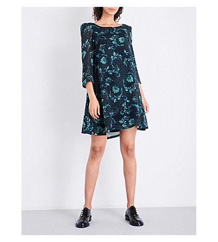 CLAUDIE PIERLOT Floral-print chiffon mini dress (Marine