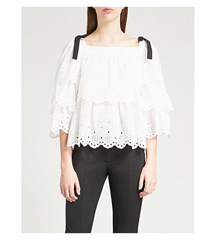 CLAUDIE PIERLOT Bounty scalloped-trim cotton top (Cream