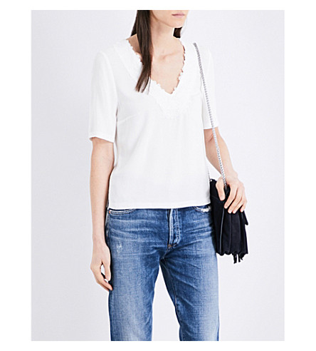 CLAUDIE PIERLOT Bavard lace-detail crepe top (Ecru