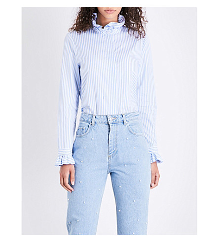 CLAUDIE PIERLOT Ruffled striped cotton-poplin shirt (Blanc