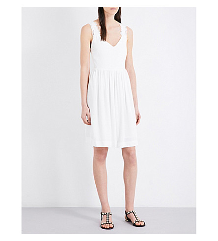 CLAUDIE PIERLOT Roby cross-back woven dress (Ecru