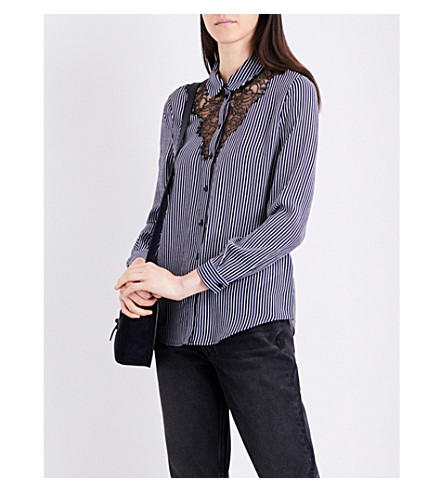 CLAUDIE PIERLOT Coco lace-panel crepe shirt (Marine