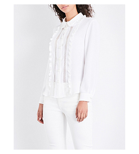 CLAUDIE PIERLOT Frilled polka-dot lace and crepe shirt (Ecru