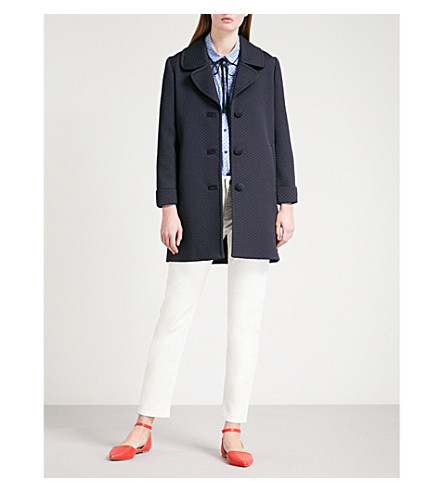CLAUDIE PIERLOT Single-breasted woven peacoat (Blue