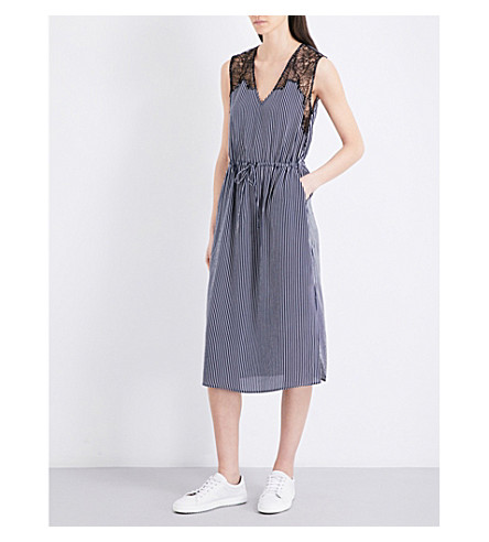 CLAUDIE PIERLOT Rare striped crepe dress (Marine