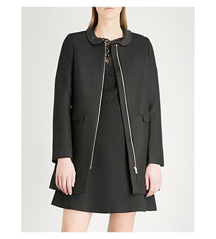 CLAUDIE PIERLOT Gilda leather-collar twill jacket (Black