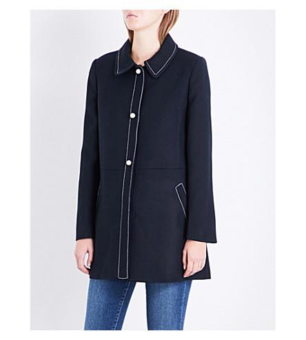 CLAUDIE PIERLOT Contrast-stitch woven jacket (Marine