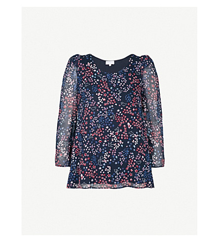 CLAUDIE PIERLOT Floral-print crepe top (Blue