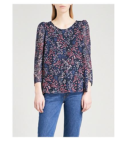 CLAUDIE PIERLOT Floral-print crepe top (Blue