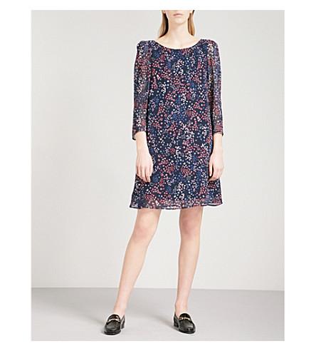 CLAUDIE PIERLOT Floral-print crepe dress (Blue