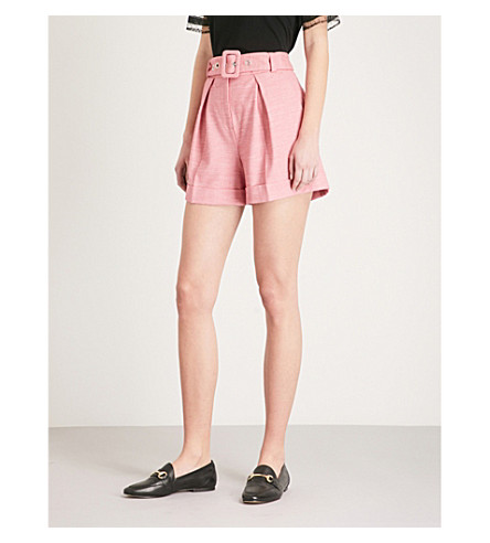 CLAUDIE PIERLOT High-rise woven shorts (Pink
