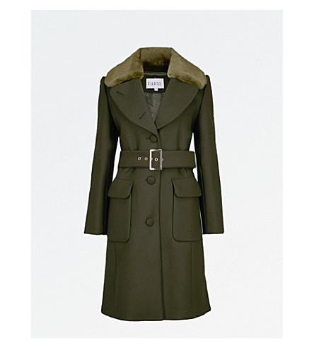 CLAUDIE PIERLOT Faux-fur collar wool-blend coat (Kaki