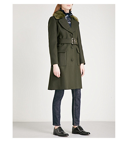 CLAUDIE PIERLOT Faux-fur collar wool-blend coat (Kaki