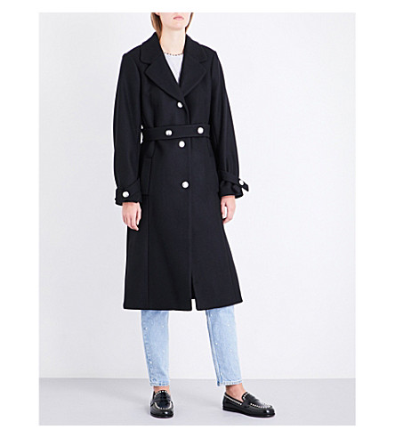 CLAUDIE PIERLOT Belted wool-blend coat (Noir