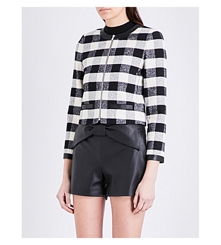 CLAUDIE PIERLOT Vertige checked tweed jacket (Ecru